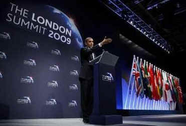 President Barack Obama holds a G20 press conference on the main stage of the Excel Centre in London, UK.