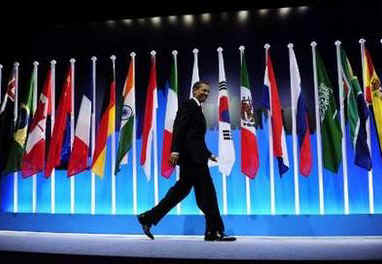 President Barack Obama arrives for a G20 press conference on the main stage of the Excel Centre in London, UK.