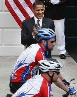 Watch the White House YouTube of President Obama at the Warrior Soldiers Ride on April 30, 2009.