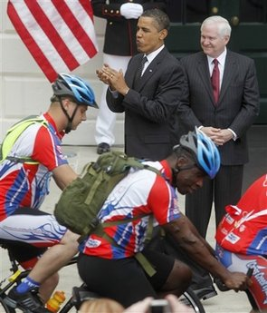 President Barack Obama hosts the Wounded Warrior Soldier's Ride on the South Lawn of the White House on April 30, 2009.