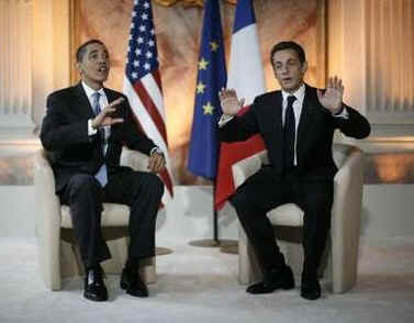 President Barack Obama meets with French President Sarkozy inside the Palais Rohan.