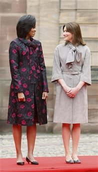 First Lady Michelle Obama and French First Lady Carla Bruni-Sarkozy participated in the Strasbourg, France arrival ceremony.