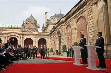 After a bilateral meeting President Obama and President Sarkozy hold a joint press conference in the courtyard of the Palais Rohan in Strasbourg, France.