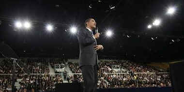 President Barack Obama holds a town hall style meeting with a young German and French audience at the Rhenus Sports Arena in Strasbourg, France.