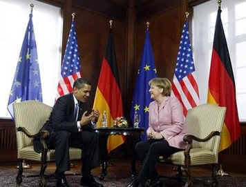 US President Barack Obama and German Chancellor Angela Merkel hold bilateral talks at City Hall in Baden-Baden.