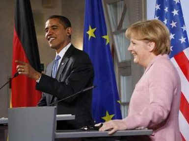 President Barack Obama and German Chancellor Angela Merkel hold a joint news conference at the Baden-Baden City Hall.