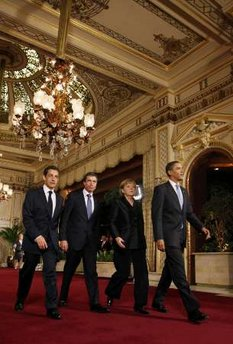 The G20 leaders are off to a working dinner in the Kurhaus building to discuss the April 4, 2009 NATO Summit agenda.