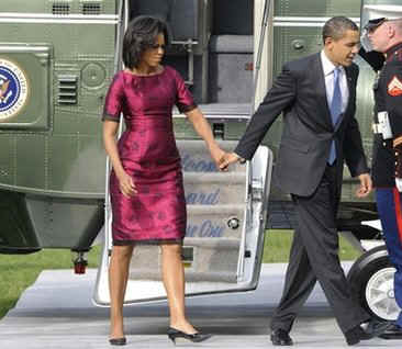 President Barack Obama and First Lady Michelle Obama arrive on Marine One in Klosterwiese in Baden-Baden, Germany.