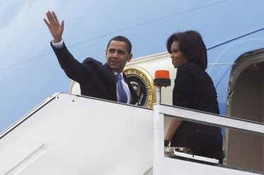 President Barack Obama and First Lady Michelle Obama depart foggy Stansted Airport in Essex, UK on Air Force One to meet with French President Sarkozy the co-host of the 60th NATO summit in Strasbourg, France.