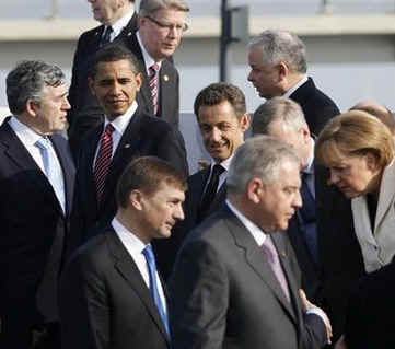 President Barack Obama and the NATO leaders assemble for a group photo prior to a NATO ceremony in Strasbourg, France.