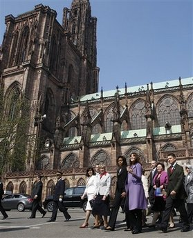 First Lady Michelle Obama meets First Lady Carla Bruni-Sarkozy and the spouses of other G20 leaders for a tour of Notre-dame de Strasbourg (Strasbourg Cathedral) on April 4, 2009.