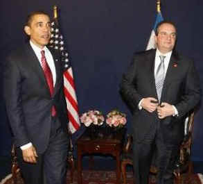 President Barack Obama meets with Greek Prime Minister Costas Karamanlis at the NATO meetings in Strasbourg, France.
