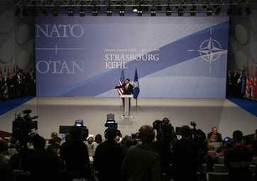 President Barack Obama holds a press conference at the end of the 60th Anniversary NATO Summit in Strasbourg, France.