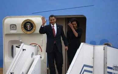 President Barack Obama and First Lady Michelle Obama arrive in Prague, Czech Republic on Air Force One on April 4, 2009.