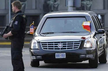 President Obama and First Lady Obama leave for the Prague Hilton to prepare for a busy next day in the capital.