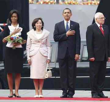 The Obamas were greeted by Czech Republic President Vaclav Klaus and his wife Livia.