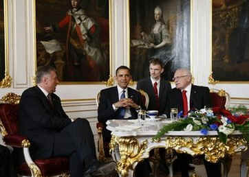 President Obama meets privately in the Prague Castle with Czech Republic President Vaclav Klaus Mirek Topolanek. The US and Czech First Ladies joined their husbands after they met in the Prague Castle on April 5, 2009.