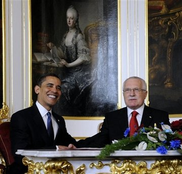 President Obama meets privately in the Prague Castle with Czech Republic President Vaclav Klaus.