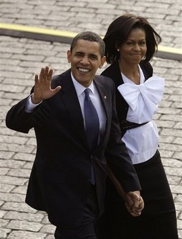 President Barack Obama and First Lady Michelle Obama Arrive in Hradcanske Square in Prague on April 5, 2009.