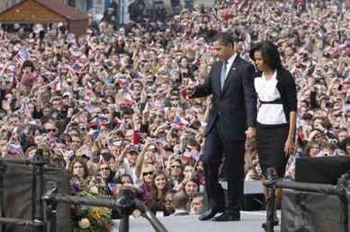 President Barack Obama is joined on the stage by First Lady Michelle Obama after Obama's speech.