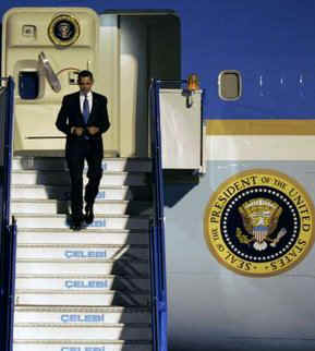 President Barack Obama arrives in Ankara, Turkey on Air Force One on April 6, 2009 after a day in Prague, Czech Republic.