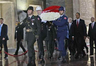 President Barack Obama begins his day in Ankara, Turkey at a wreath laying ceremony at Anitkabir Mausoleum on April 6, 2009.