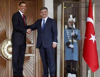 President Barack Obama meets with Turkish President Abdullah Gul and Turkish delegates at Cankaya Palace in Ankara, Turkey.