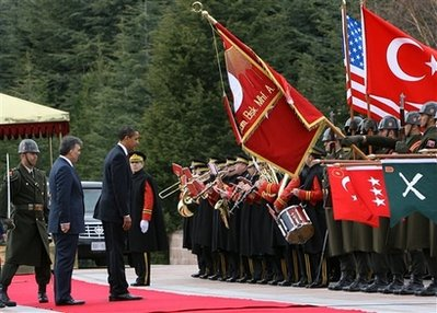 President Barack Obama attends a Welcome Ceremony on the grounds of Cankaya Palace with Turkey's President Abdullah Gul.