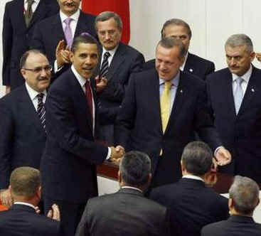 After Obama's Address to Parliament he was thanked by Turkish Prime Minister Recep Tayyip Erdogan.