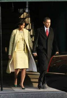 Michelle and Barack Obama leave Blair House for limousine to St. John's Episcopal Church across from the White House.