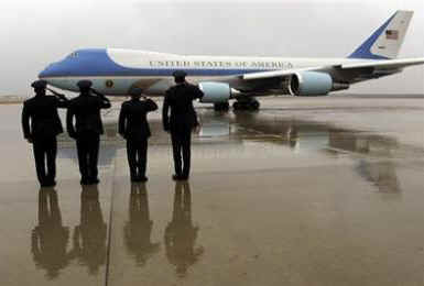 President Obama departs Andrews Air Force Base on Air Force One.