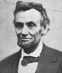 Photo portrait of US President Abraham Lincoln taken on April 10, 1865. In April 2005, 140 years after this April 1865 photo, Barack Obama opens the Lincoln Presidential Museum and Library in Lincoln, Illinois.