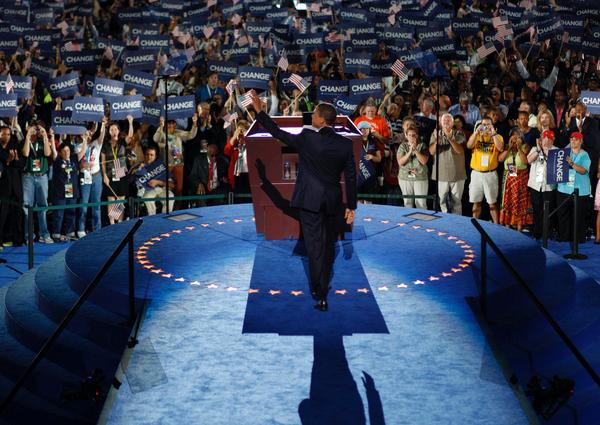 Senator Barack Obama's Democratic National Convention speech at Denver's Mile High Stadium. Barack Obama accepts the Democratic nomination for President at the DNC Convention in Denver, Colorado on August 28, 2008.