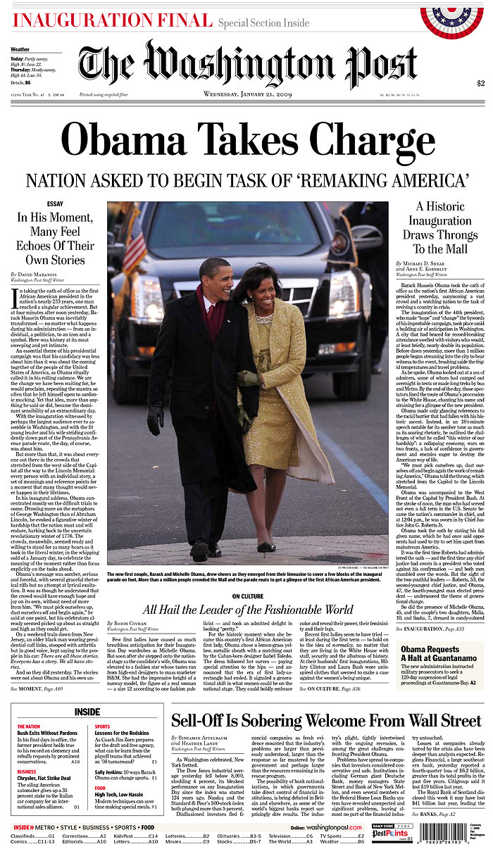 Obama - Newspaper Front Page Headlines of Barack Obama ...