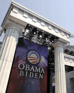 Obama has often posed or spoken in front of two pillars or columns. These pillars appear as the number 11. Obama had several twin Greek columns at the Democratic National Convention in Denver, Colorado on August 28, 2008.