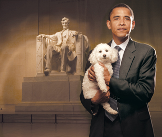 Obama promotes dog adoption in this 2007 PR photo with the Lincoln Memorial in the background. The three-logged dog's name is Baby.