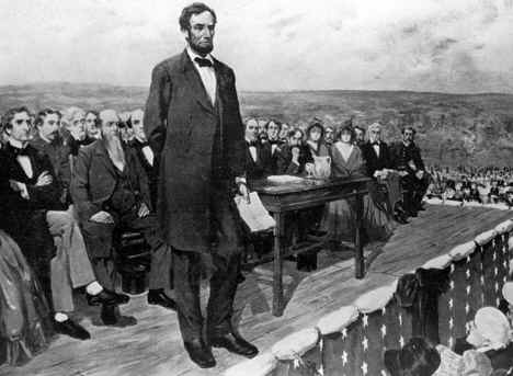 On November 19, 1863 President Abraham Lincoln delivers the Gettysburg Address during the Civil War, four months after the Battle of Gettysburg.