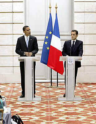 The day after Barack Obama's Berlin Speech he meets with French President Nicolas Sarkozy in Paris, France on July 25, 2009.