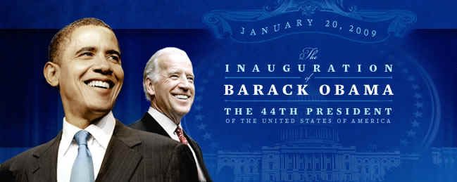 President-elect Barack Obama and Vice President-elect Joe Biden appear on Barack Obama's web site banner. The Inauguration of the 44th President on January, 20, 2009 in Washington, DC.