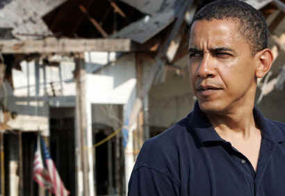 Watch the Special Video Biography of Barack Obama Shown at the DNC Convention in August 2008. Photo: Barrack Obama in New Orleans on July 21, 2006 after Hurricane Katrina.