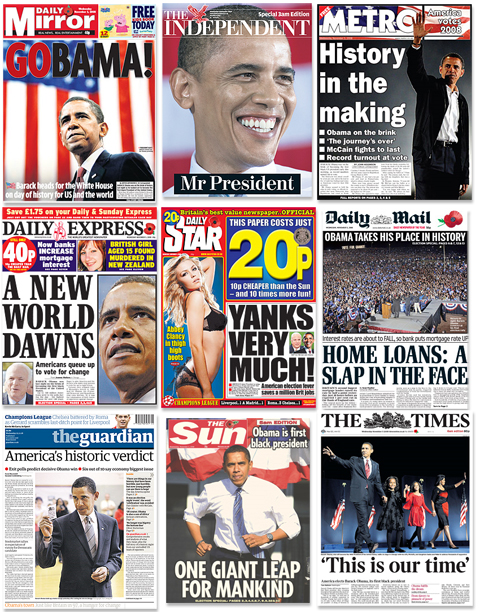 Barack Obama dominates the front pages of the many London daily newspapers on November 6, 2008.
