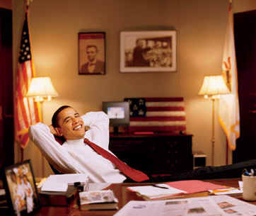 Senator Obama relaxes in his Capitol Hill office in the fall of 2002. Behind Obama are photos of President Abraham Lincoln and Martin Luther King Jr.