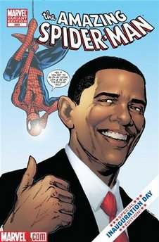 "President Obama teams up with Spider-man who battles a look-a-like imposter trying to take President Obama's place. The five-page special issue comic is titled ""Spidey Meets the President."" (Comic #583). Incidentally, President Barack Obama is known to collect Spider-Man comics. Obama also collected Conan the Barbarian comics."