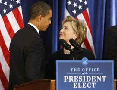 President-elect Barack Obama selects Hillary Clinton as Secretary of State in his new cabinet on December 1,2008.