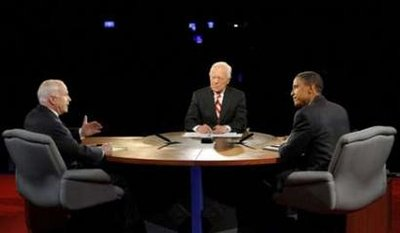 October 15, 2008 New York Presidential debate between John McCain and Barack Obama. Moderated by Bob Schieffer.