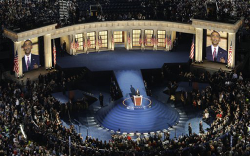 Barack Obama speaks at the Democratic National Convention in Denver on August 28, 2008.