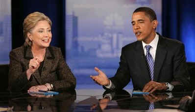 February 26, 2008 Democrat debate between Barack Obama and Hillary Clinton in Cleveland, Ohio.