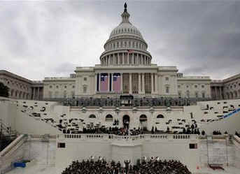 A full dress rehearsal on the West Front of the US Capitol on the early morning of January 11, 2009.