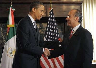 Barack Obama meets with Mexican President Felipe Calderon at the Mexican Cultural Institute in Washington on January 12, 2009.
