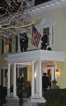 Barack Obama has dinner at a private residence with select conservative representatives of the  media.